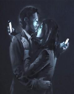 Lo que la tecnología une que no lo separe el móvil bansky